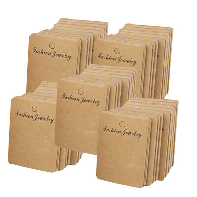 5x 100 Kraft Paper Earring Ear Studs Necklace Display Holder Hanging Cards Tags