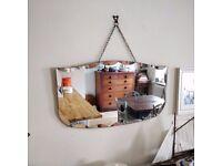 Vintage bevelled edge mirror, hanging mirror, mirror on chain, old mirror. hall mirror. (1426)