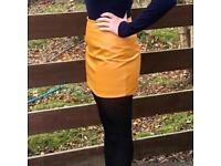 Mustard Yellow Faux Leather Skirt 6/8/10