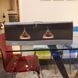 COPPER AND STAINLESS STEEL TWIN LIGHT FITTING