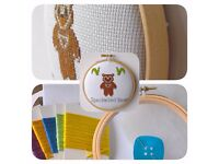 Spectacled Bear Cross Stitch Padded Hoop Kit