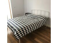 Double bed frame (John Lewis) with ortho mattress