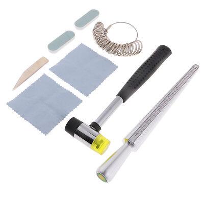 34Pc UK Ring Sizer Mandrel Finger Gauge Set Rubber Hammer Jewellery Kit Tool