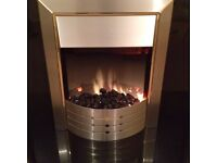 Dimplex ASP20 electric fire and wooden veneer mantle with marble harth
