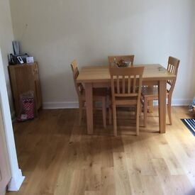 Solid Beech dining table & 4 matching chairs for sale.