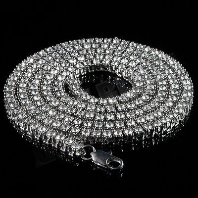 - 14k White Gold ICED OUT Lab Diamond 1 Row SILVER Chain Mens Tennis Necklace Hip
