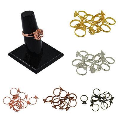 12x Elegant Adjustable Ring Settings Blank/Base,Fit 12x5mm Cabochons Bezels