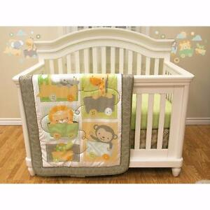 Baby's First 4-Piece Infant Microfibre Bedding Crib Set - Safari NEW