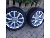 FULL SET OF 17 INCH VOLKSWAGEN 10 SPOKE ALLOY WHEELS AND JUST AS NEW TYRES..£650