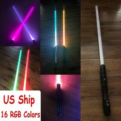 US Ship 16 RGB Colors Star Wars Lightsaber Sword Light Black Hilt Force Jedi -