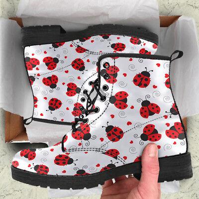 Ladybug Booties - Ladybug Women Boots, Ladybird Booties, Ladybug Lover Vegan Leather Shoes