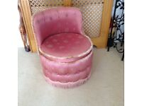 Retro pink satin low chair , very good condition ,