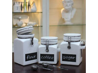 Kitchen Stoneware Canisters with Chalkboard Fronts Tea Coffee Sugar, 3 Pack Brand New