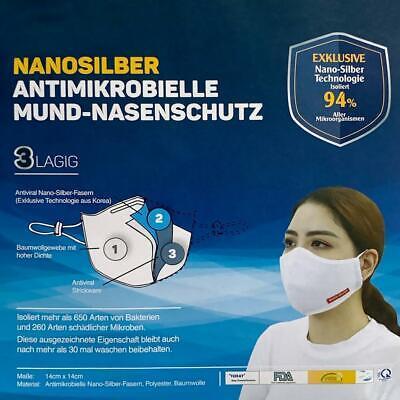 20 x NANOSILBER Mund-Nasenschutz Atemschutzmaske 3-lagig waschbar Antimikrobiell