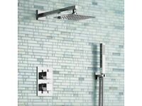 Brand New 200mm Square Stainless Steel Wall Mounted Head, Handheld & Thermostatic Mixer Shower Kit