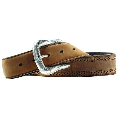Ariat Western Mens Belt Leather Work Perforated Brown A10004667 Ariat Mens Work Belt