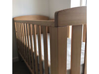 Boori cotbed in Acacia wood with NEW toddler guard, used 4 months