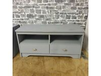 Set of Painted Grey 2x Bedside Tables + TV Stand with Drawers