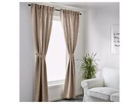 IKEA BLEKVIVA Curtains With Tie Backs In Beige, 145 X 250 cm