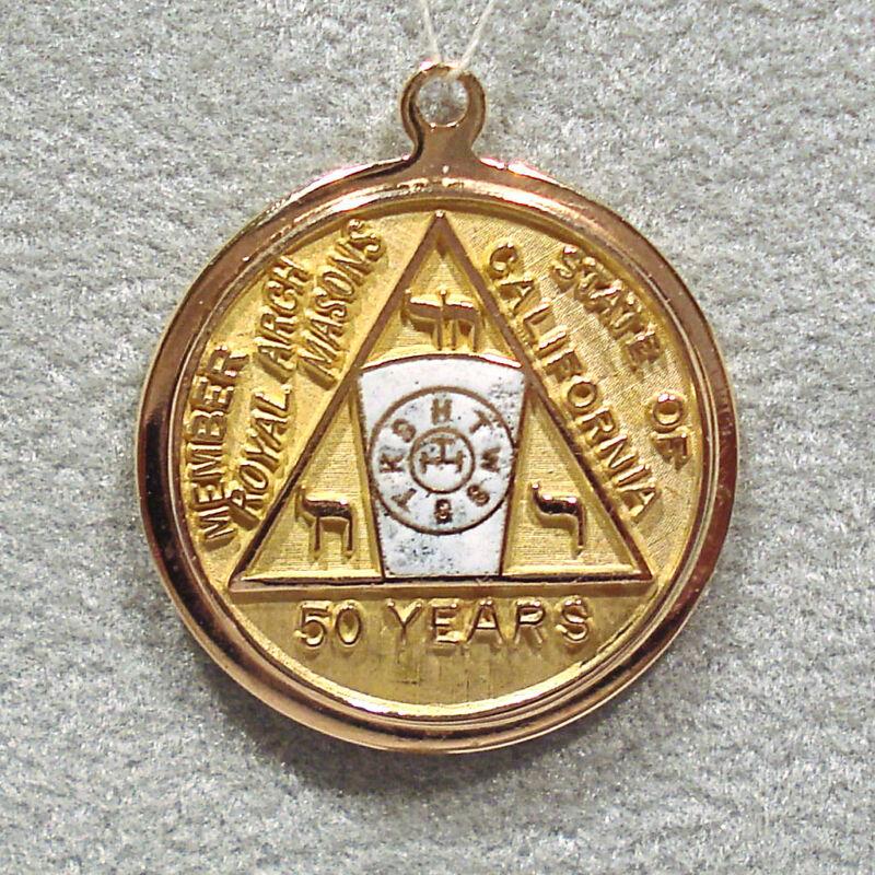 SOLID 14K YELLOW GOLD 50 YEARS CALIFORNIA ROYAL ARCH MASONIC PENDANT / CHARM