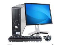WINDOWS 7 FULL DELL COMPUTER DESKTOP TOWER SET PC 2GB RAM 160GB HDD WIFI