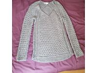 Womens grey embroidered jumper