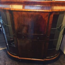 Mahogany Bureau/Cabinet/Sideboard with Stained Glass Display