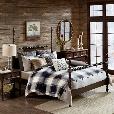 King Urban Cabin Cotton Plaid Jacquard Comforter Set Faux Fur Cable Knit Pillows