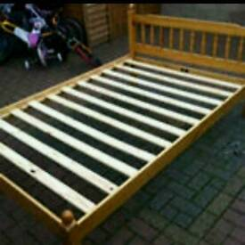 4ft small pine double bed frame only in excellent condition