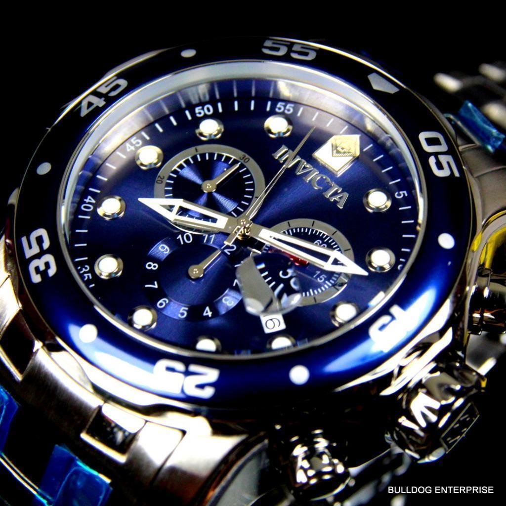 Watch wrist parts - Mens Invicta Pro Diver Scuba Silver Blue Steel Chronograph Swiss Parts Watch New