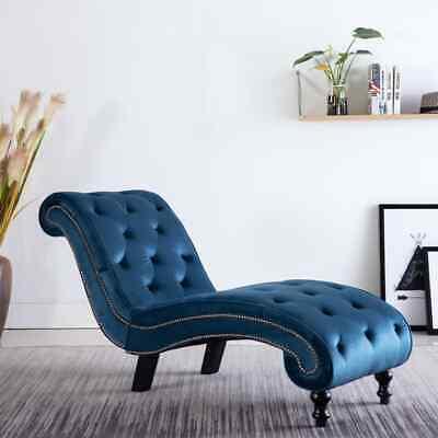 vidaXL Sofá Chaise Longue Tipo Clásico Terciopelo Azul Diván Cuero Artificial