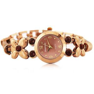 Women Ladies Butterfly Bronze Stainless Watch with Gem Elegant Waterproof  Watch
