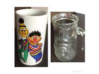 Statue of Liberty Glass Mug and Sesame Street Glass Vase Pot