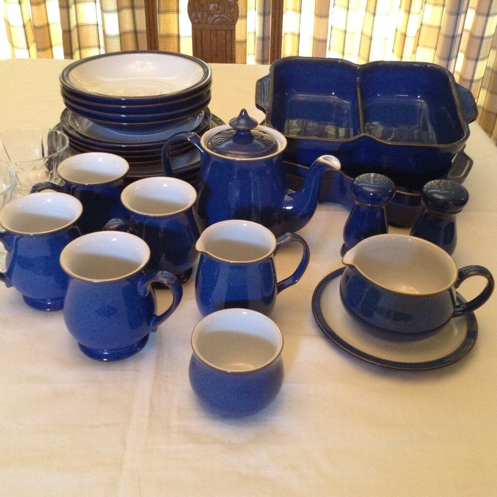 Large selection of DENBY Imperial Blue. Plates bowls teapot sugar bowl & Large selection of DENBY Imperial Blue. Plates bowls teapot sugar ...