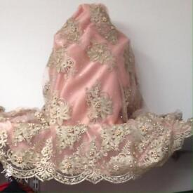 Peach and gold pearl bead lace fabric wedding mehndi dress gown eid prom Christmas £12 material