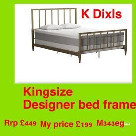K Dixls Rrp £449 designer kingsize metal bed frame brand new only £199
