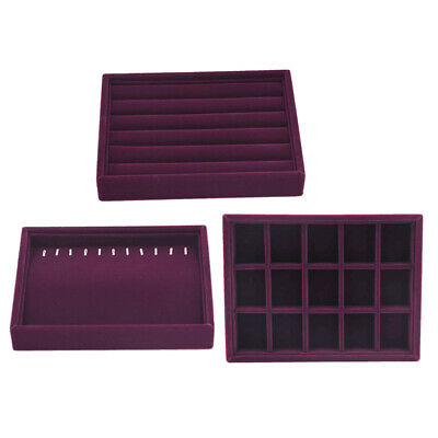 3pcsset Velvet Jewellery Holder Boxes Necklace Rings Retail Display Trays