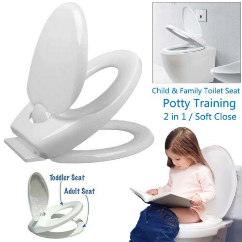 Familien WC-Sitz weiß mit Kindersitz Toilettendeckel Absenkautomatik Abnehmbar √