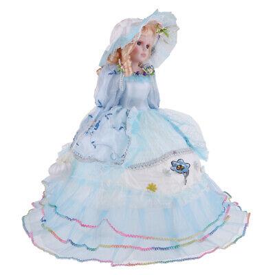 Vintage Elegant Victorian Porcelain Doll Splicing Doll   Blue Dress