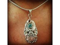 Handmade teaspoon handle stone set pendant