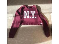 Womens brookhaven burgundy cropped jumper / sweatshirt