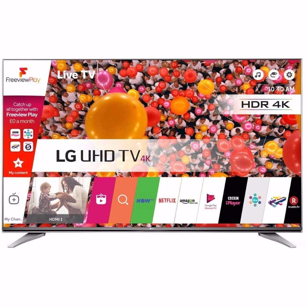 lg 65uh750v, brand new, never used, cost 1500 newin Swindon, WiltshireGumtree - LG 65UH750V 65 Inch Smart LED 4K Ultra HD Freeview HD and Freesat HD TV 3 HDMI LG 65UH750V Specifications Product Detail Dimensions 85.1cm(H) 146cm(W) 5.3cm(D) Energy Rating A Manufacturer Warranty 1 Year Remote Control Smart Remote x 1 Energy Saving...