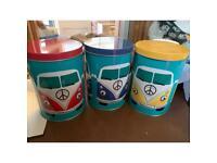 Set of 3 VW Camper storage tins canisters