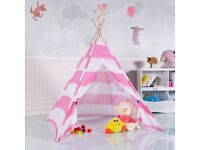 Costway UK Kids Teepee Indian Play Tent Wooden Bar Indoor Outdoor Children Playhouse Canvas Pink