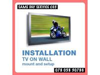 Tv on wall mount bracket shelf