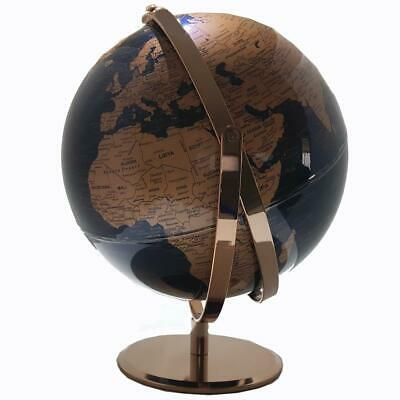 STUNNING World Globe Navy Blue & Rose Gold Rechargeable Dimmable Touch LED 30cm