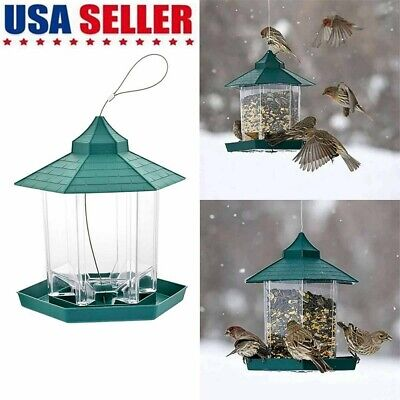 Bird Feeder Hanging Bird Food Container Bird Food Box Waterproof Plastic Outdoor