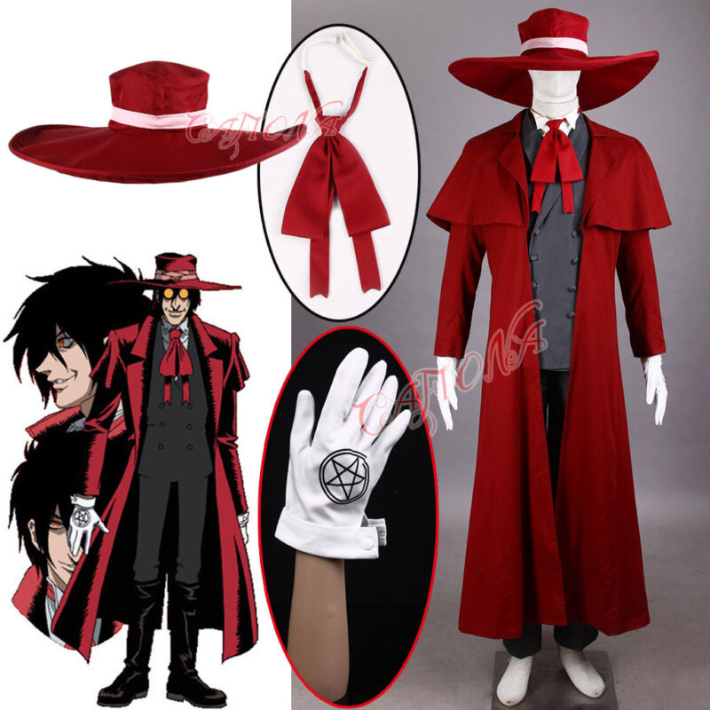 Cafiona Hellsing Alucard Cosplay Costumes Cool Vampire Hunter Long Coat Outfit