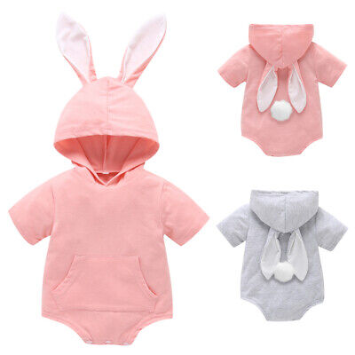 Newborn Baby Boy Girl Easter Bunny Romper Hoodie Bodysuit Summer Outfits Clothes