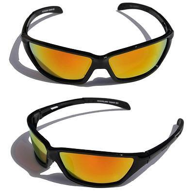 Negro Gafas de Sol Polarizadas Fuego Lente Espejo Delgado Pesca Ciclismo Béisbol